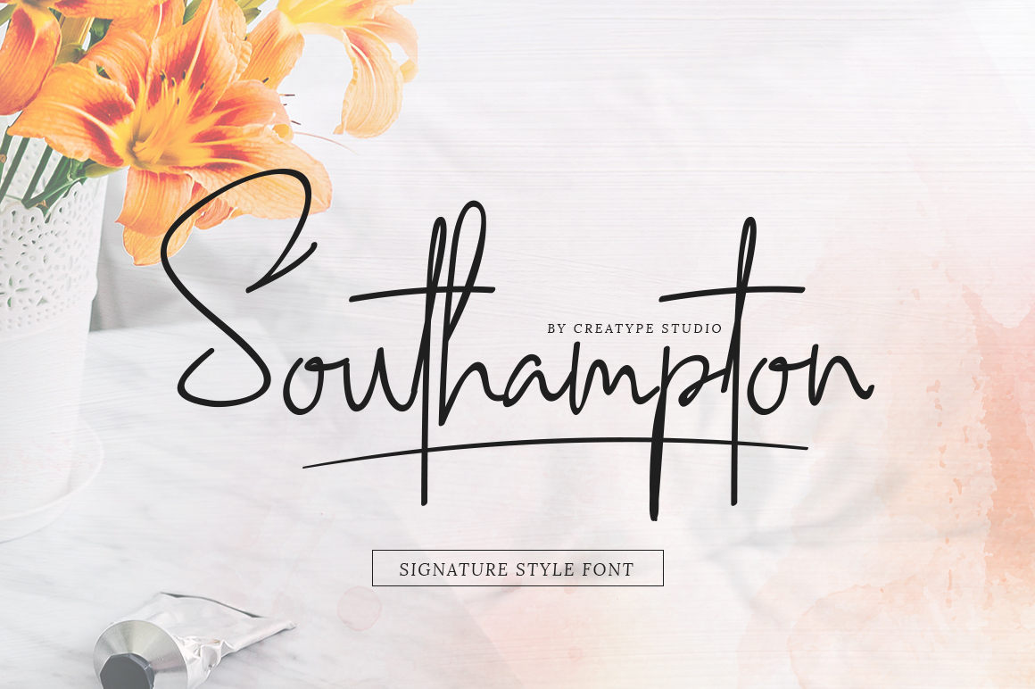 Print on Demand: Southampton Script & Handwritten Font By CreatypeStudio