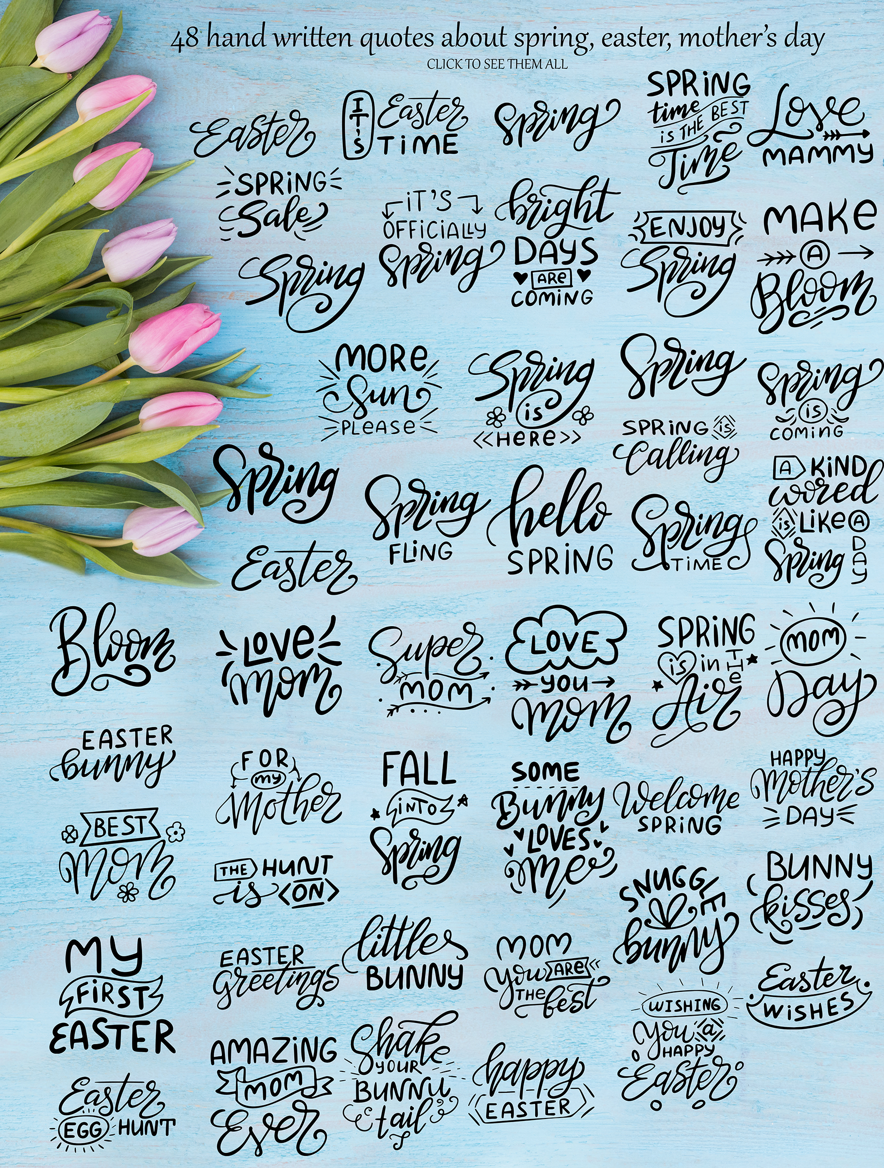 Download Free Spring Kit Lettering And Clipart Graphic By Tregubova Jul for Cricut Explore, Silhouette and other cutting machines.