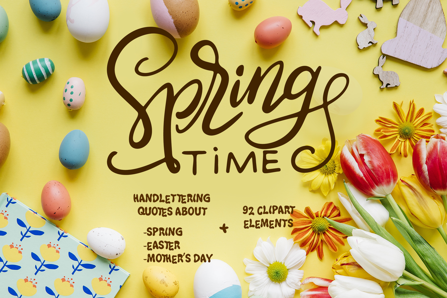 Spring Kit: Lettering and Clipart Graphic By tregubova.jul