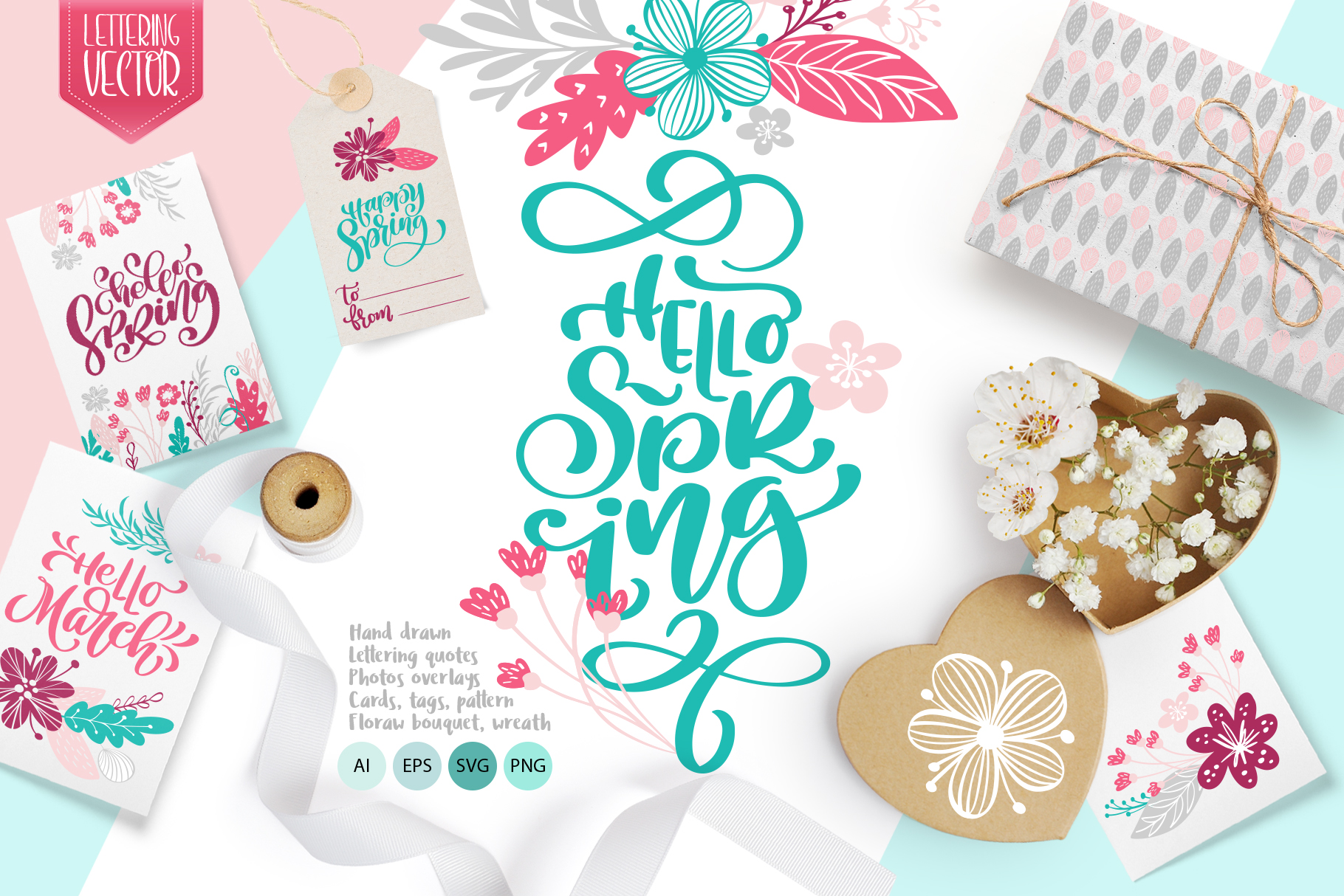 Spring Vector Lettering & Floral Greeting Card Graphic Objects By Happy Letters