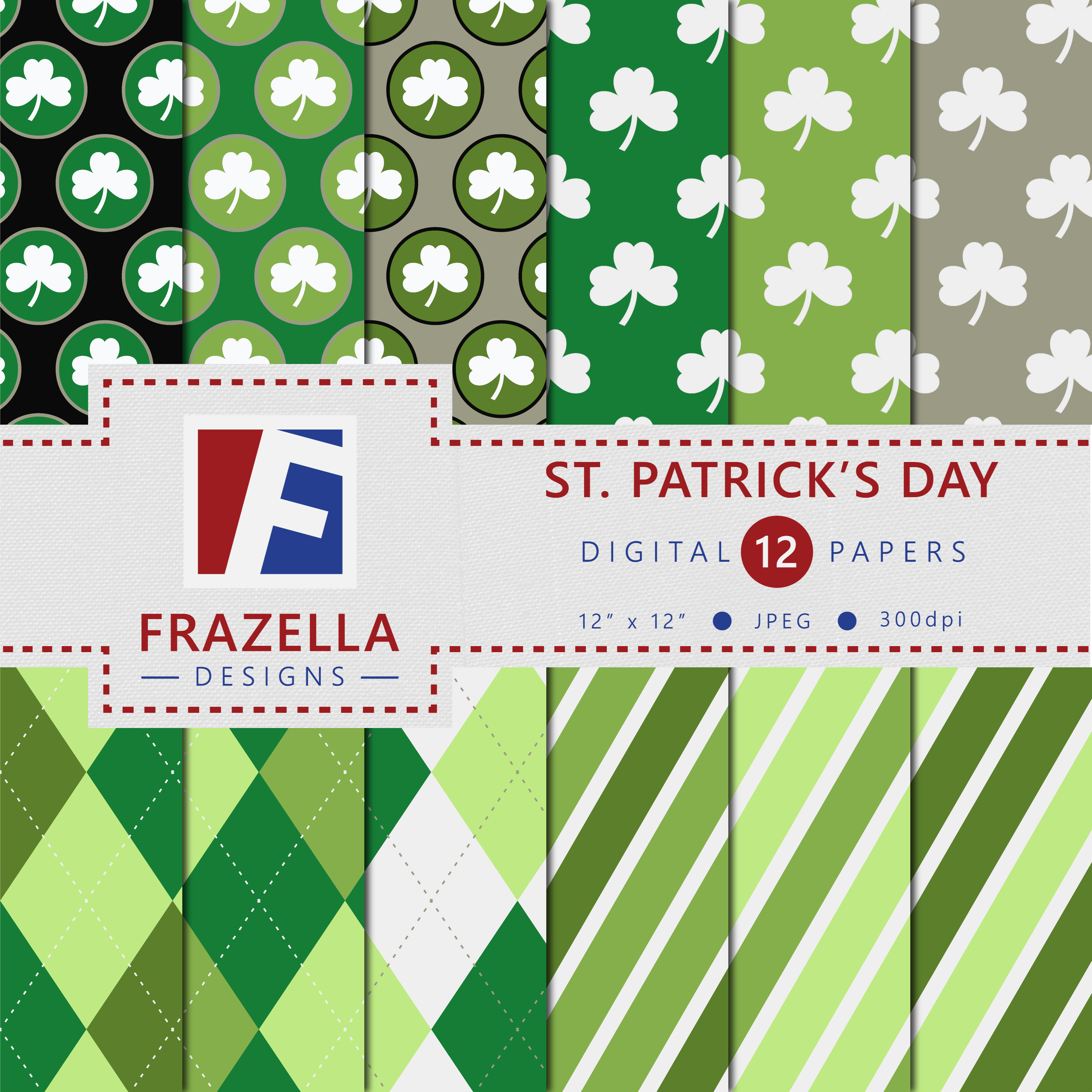 Download Free St Patrick S Day Digital Paper Set Graphic By Frazella Designs for Cricut Explore, Silhouette and other cutting machines.