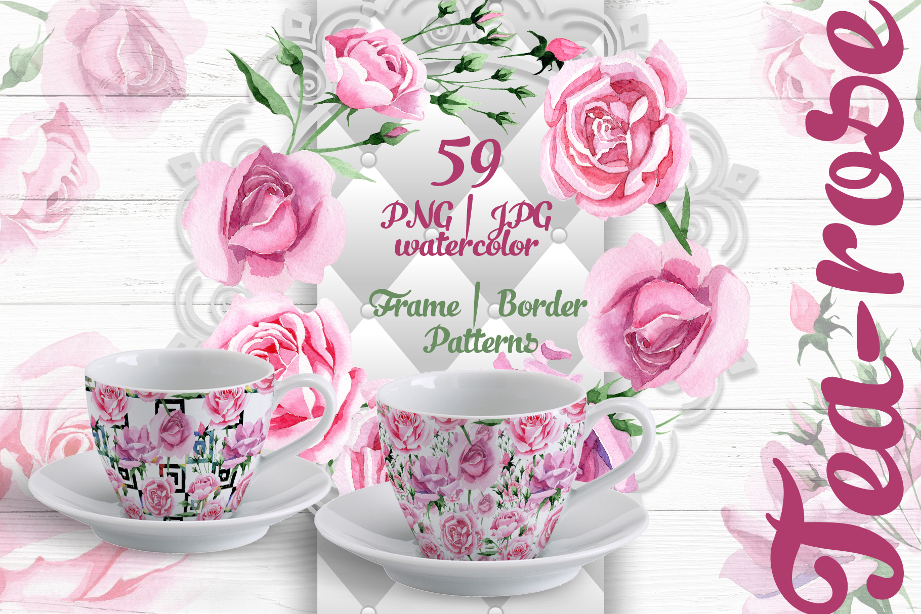 Print on Demand: Tea-rose PNG Watercolor Set Graphic Illustrations By MyStocks
