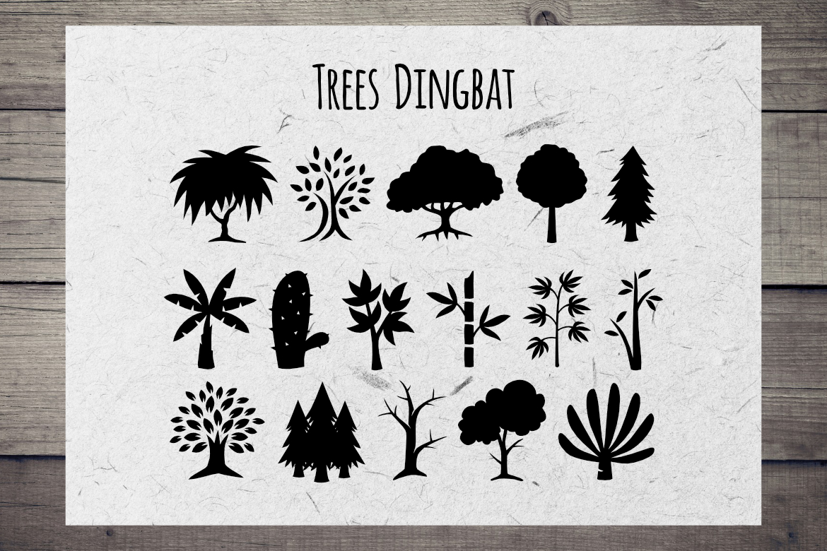 Print on Demand: Trees Dingbat Dingbats Font By LebahStudio