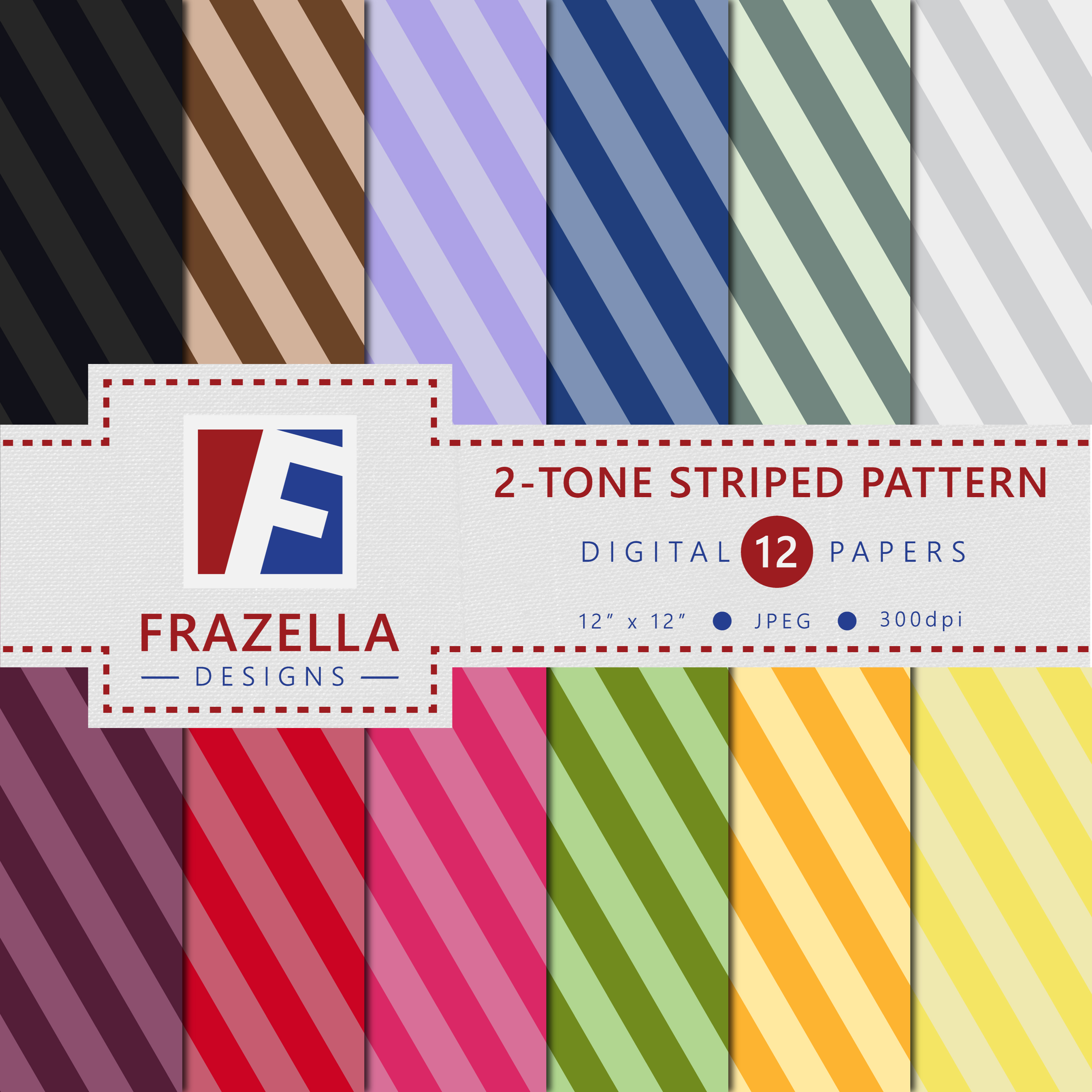 Download Free Two Tone Striped Pattern Digital Paper Collection Graphic By for Cricut Explore, Silhouette and other cutting machines.