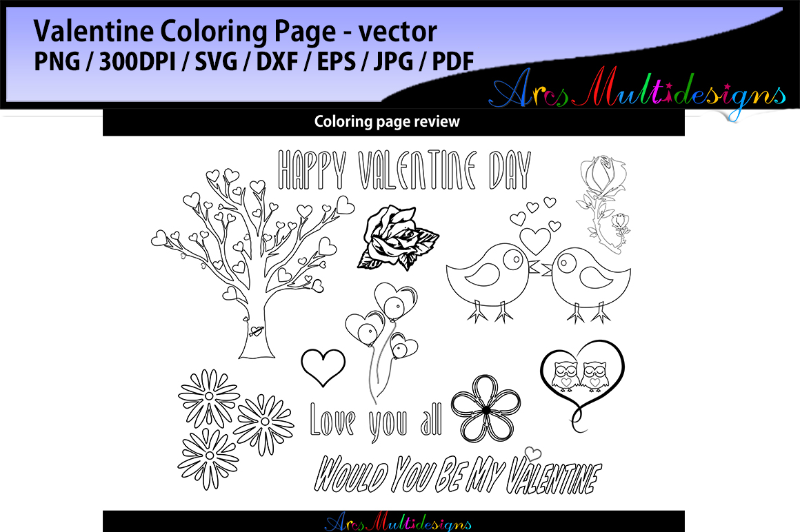 Download Free Valentine Coloring Pages Svg Graphic By Arcs Multidesigns for Cricut Explore, Silhouette and other cutting machines.