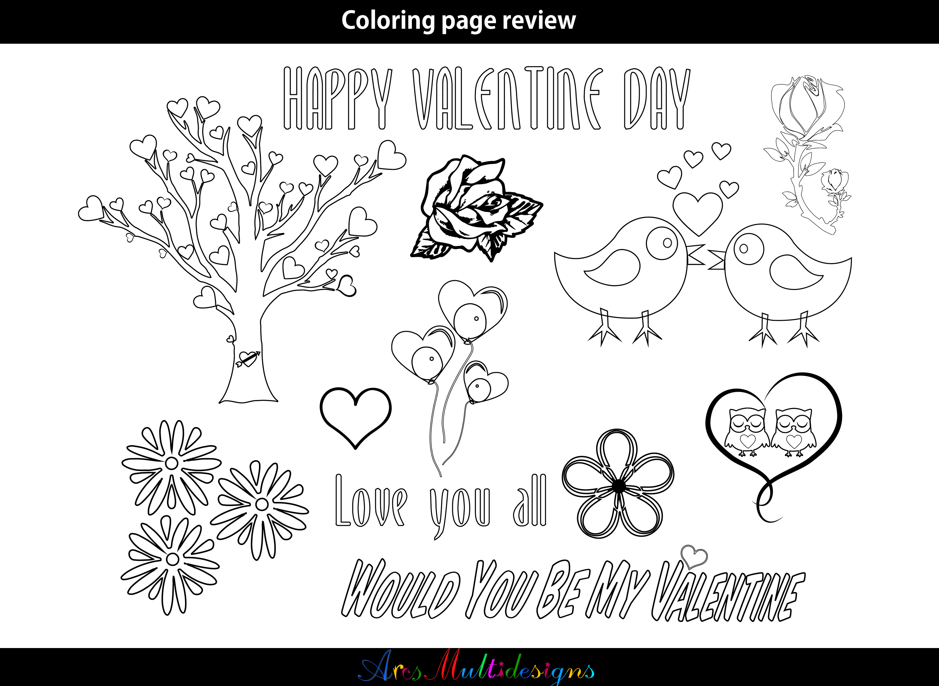 Print on Demand: Valentine Coloring Pages SVG Graphic Illustrations By Arcs Multidesigns