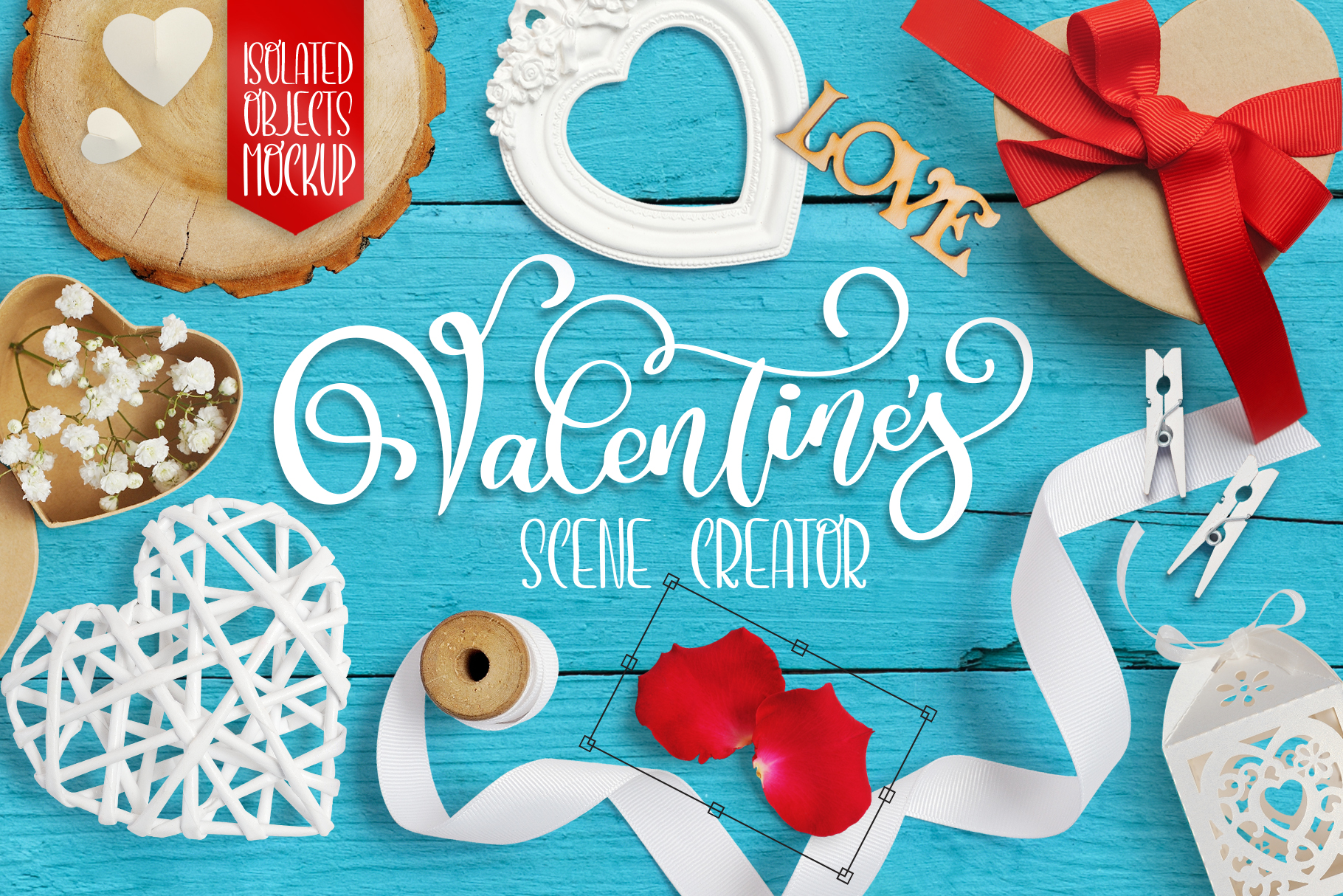 Valentine Mock Up Scene Creator Graphic Objects By Happy Letters