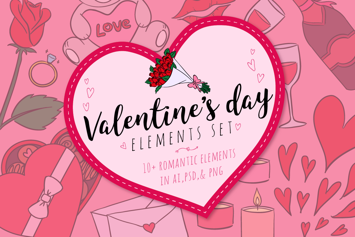 Download Free Valentines Day Elements Set Graphic By The Stock Croc Creative for Cricut Explore, Silhouette and other cutting machines.