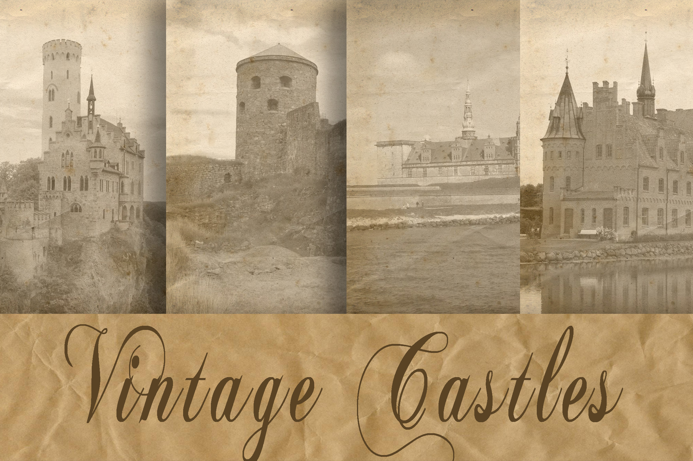 Print on Demand: Vintage Castles Digital Paper Graphic Backgrounds By oldmarketdesigns