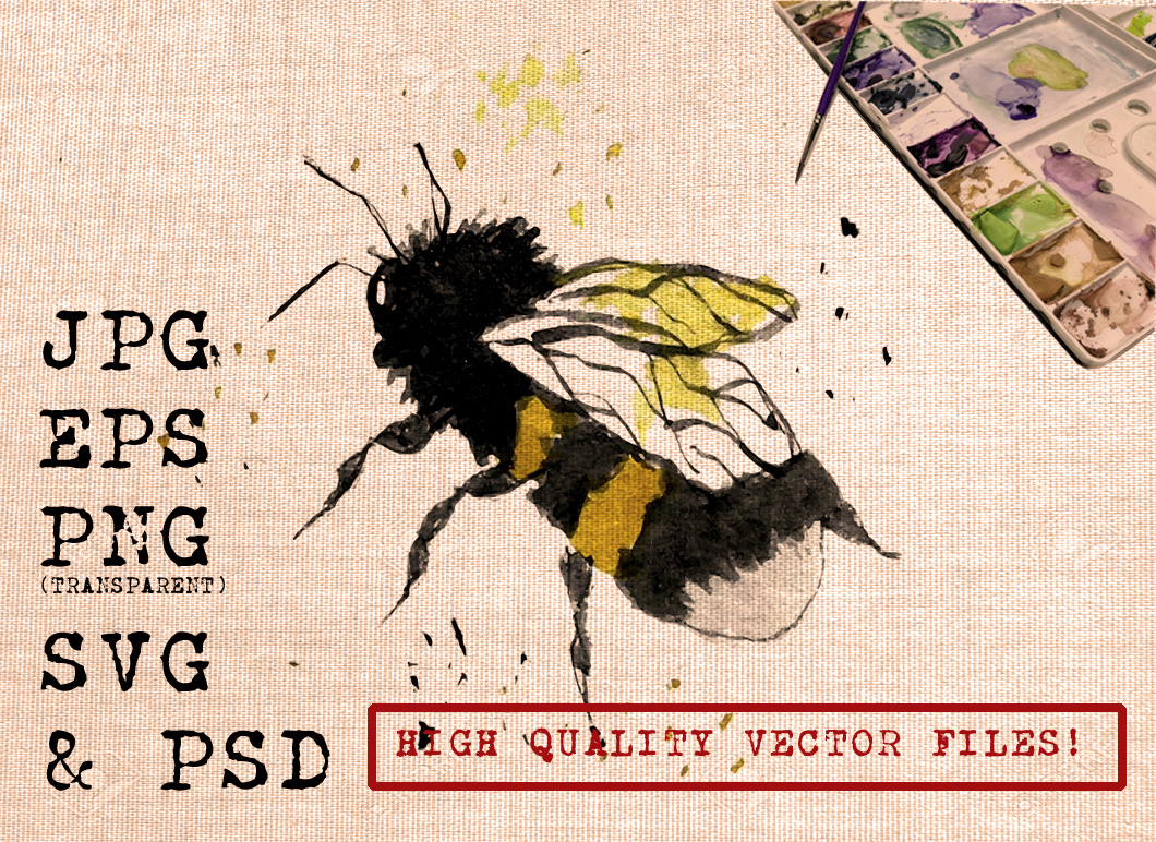 Water Color Bee Graphic Illustrations By Ambar Art