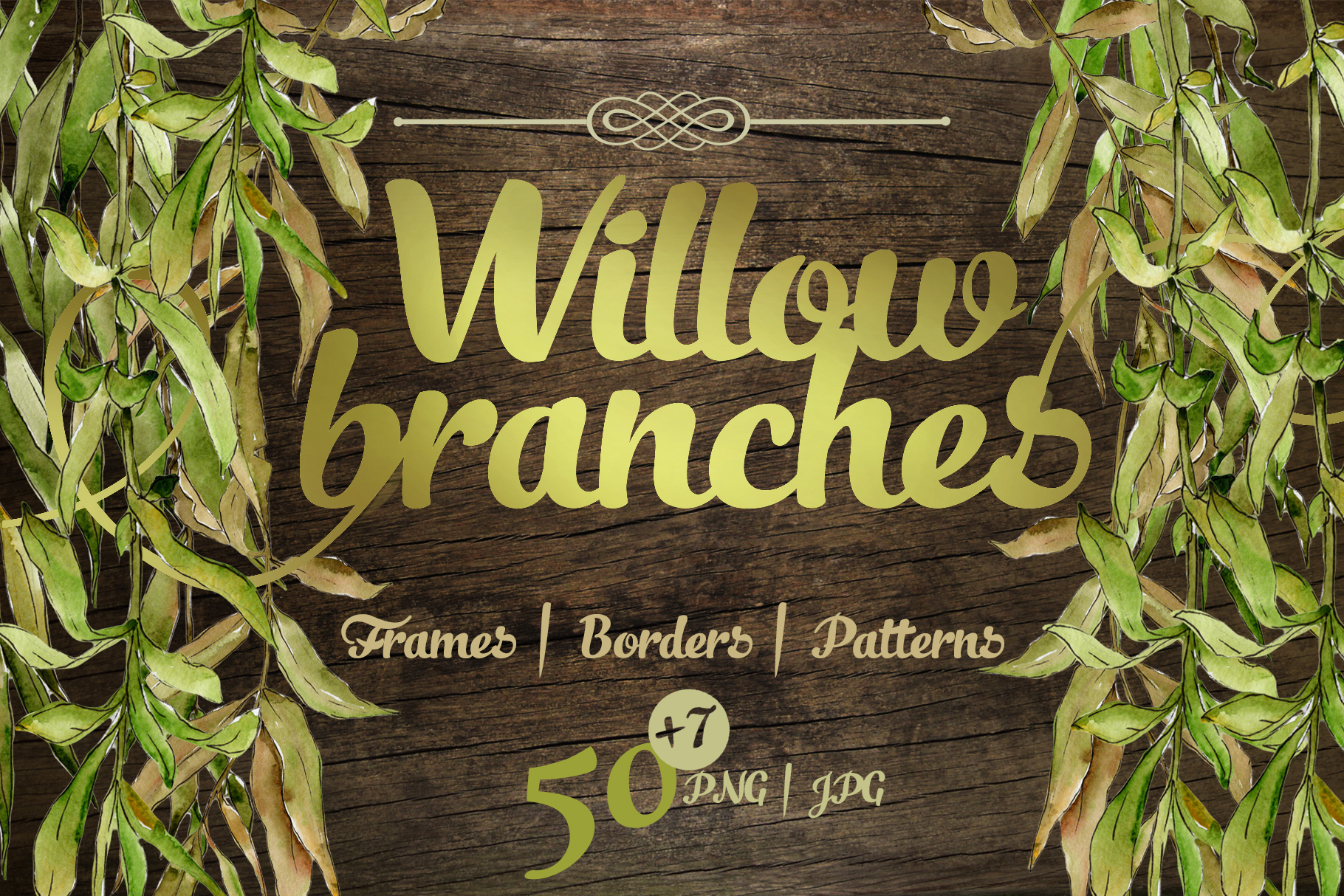 Print on Demand: Willow Branches JPG Watercolor Set Graphic Illustrations By MyStocks
