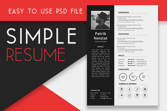Free Resume Template PSD + 350 Icons Graphic By Creative Fabrica Freebies