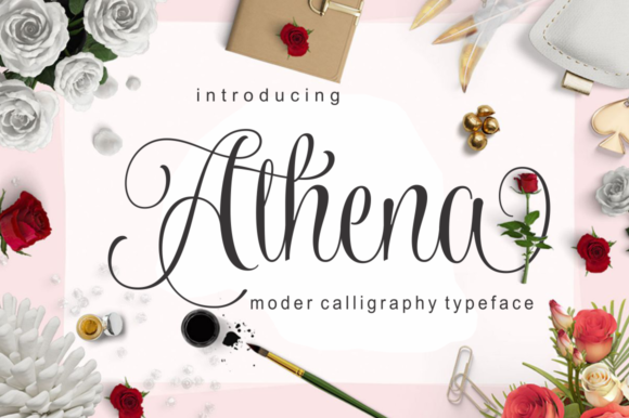 Print on Demand: Athena Script Script & Handwritten Font By screen letter