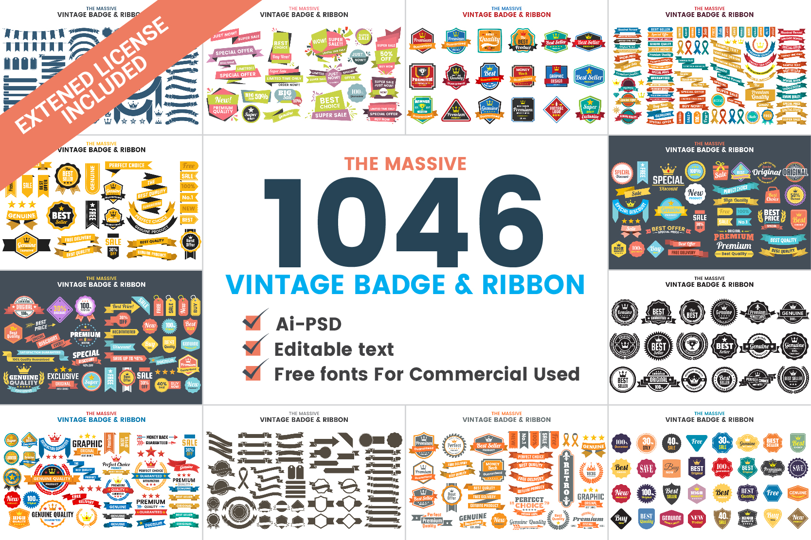 1046 VINTAGE BADGE & RIBBON Graphic Logos By toonsteb