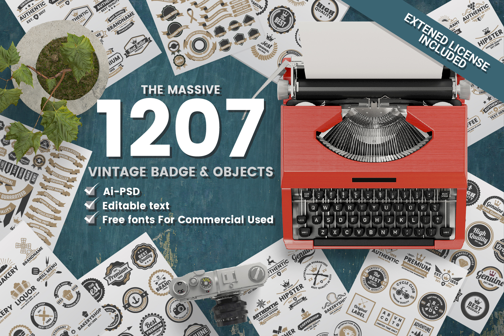 Print on Demand: 1207 Vintage Badge & Objects Graphic Logos By toonsteb