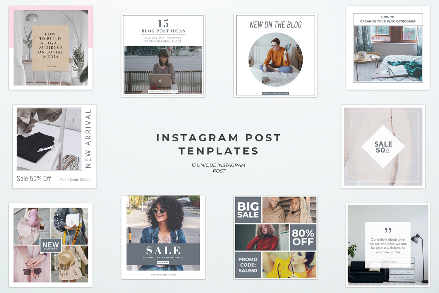 Print on Demand: 15 Instagram Post Templates Graphic Websites By Creative Tacos