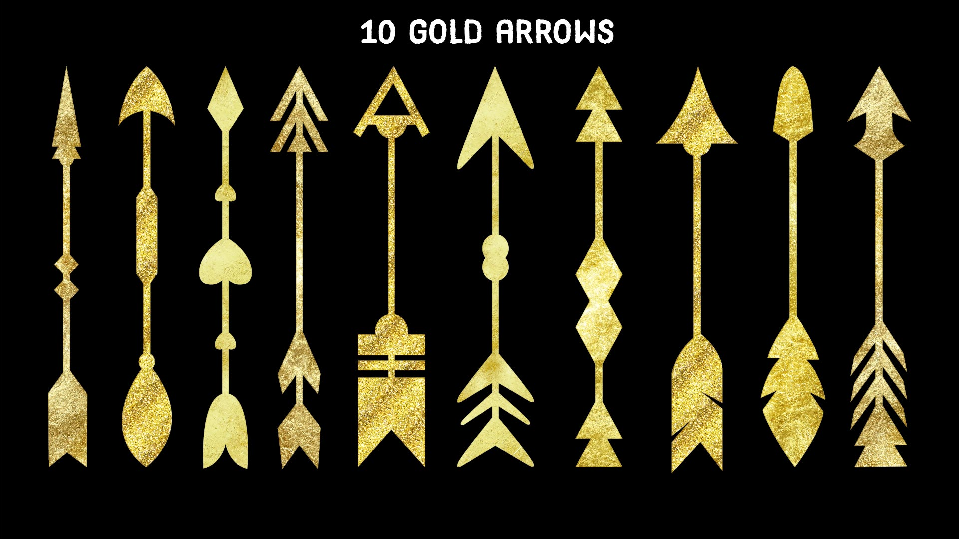 Print on Demand: 20 Gold and Silver Arrows Hi-Res Cliparts Graphic Illustrations By davidrockdesign - Image 2