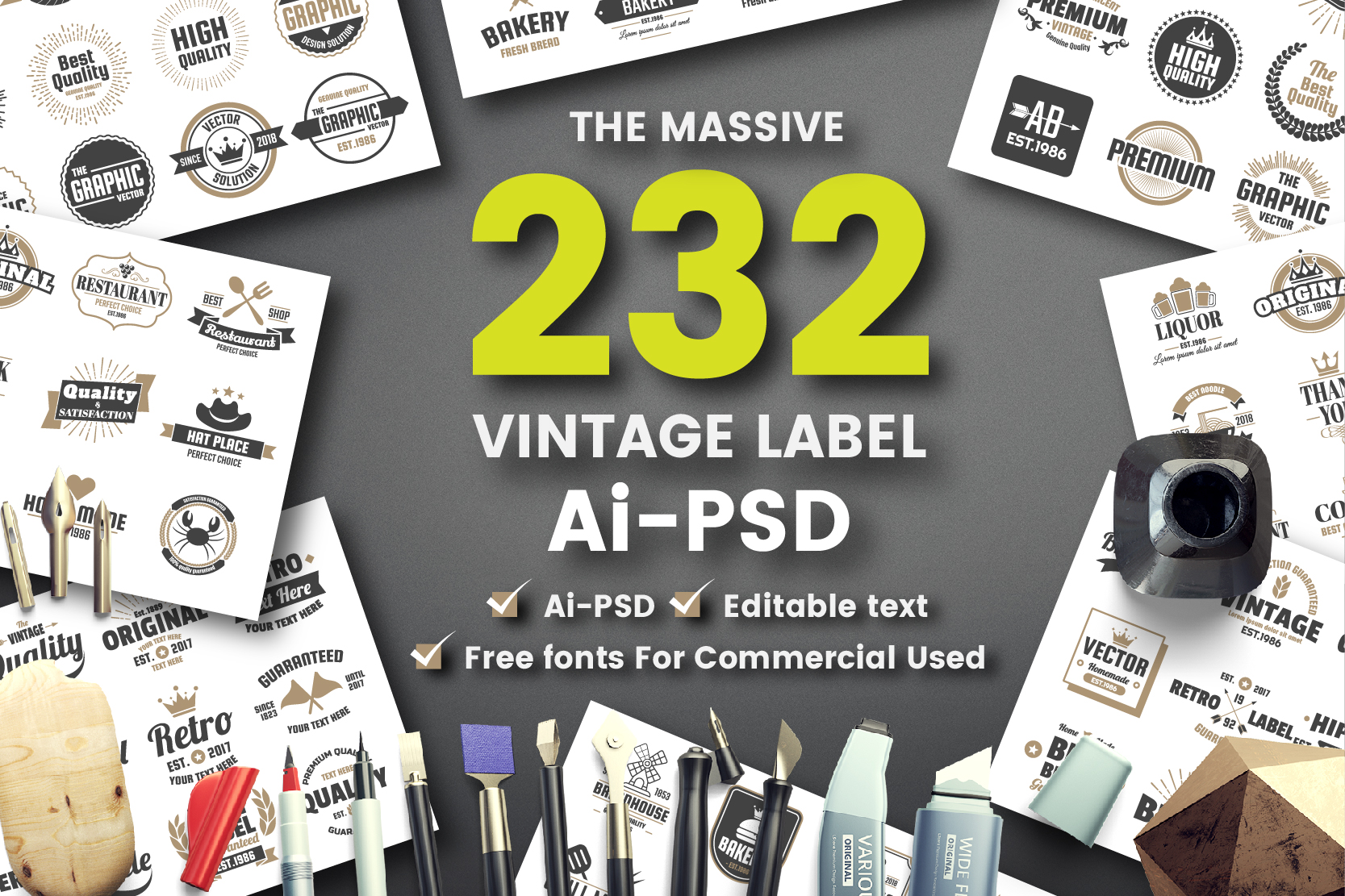 232 VINTAGE LABEL Graphic Logos By toonsteb