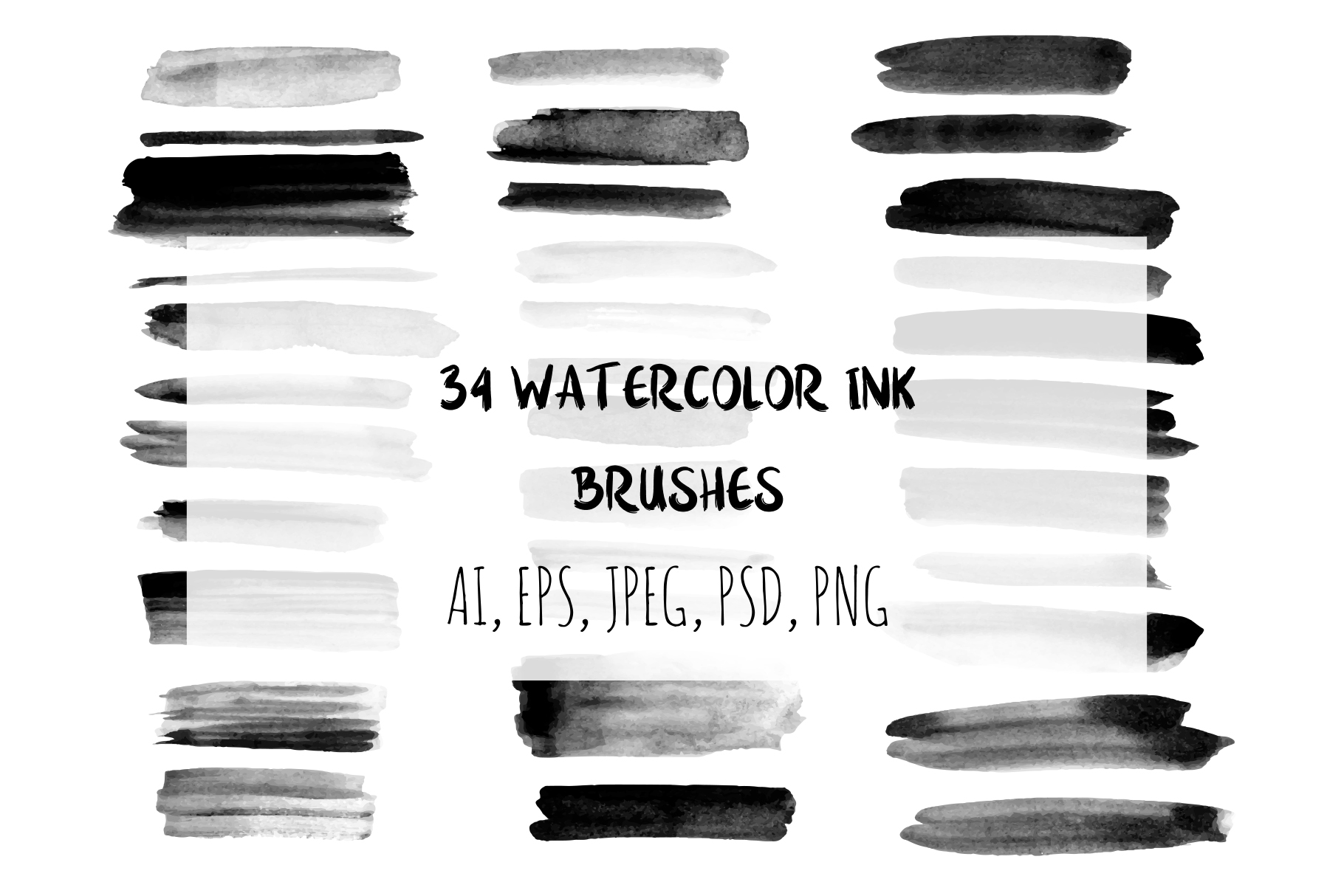 34 Watercolor Ink Brushes. Graphic Brushes By alisared87