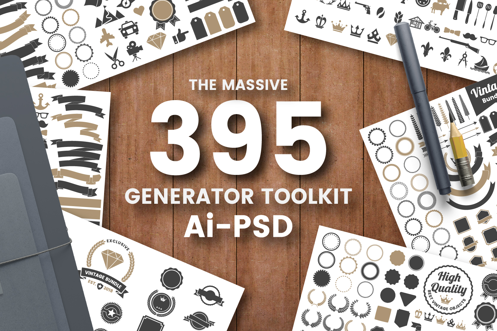 395 VINTAGE GENERATOR TOOLKIT Graphic Logos By toonsteb