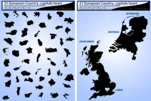 Download Free 51 European Country Capitals Map Silhouette Vector Graphic By for Cricut Explore, Silhouette and other cutting machines.