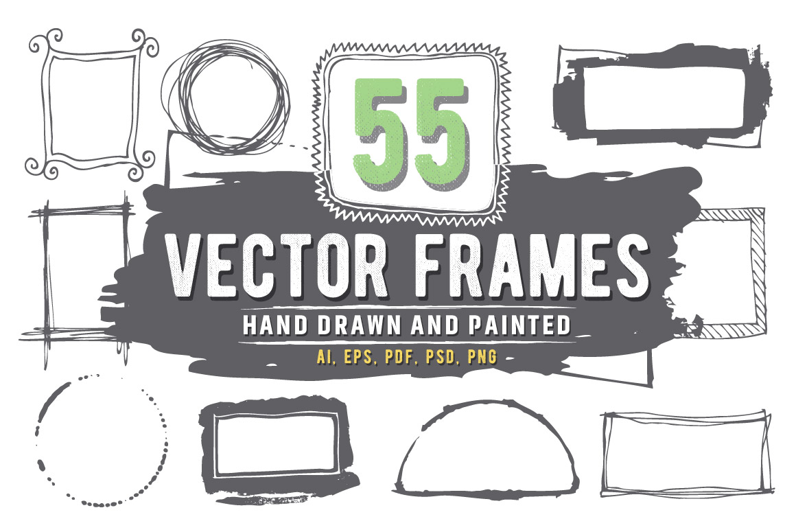 55 Hand Drawn and Painted Vector Frames Graphic Illustrations By andesign