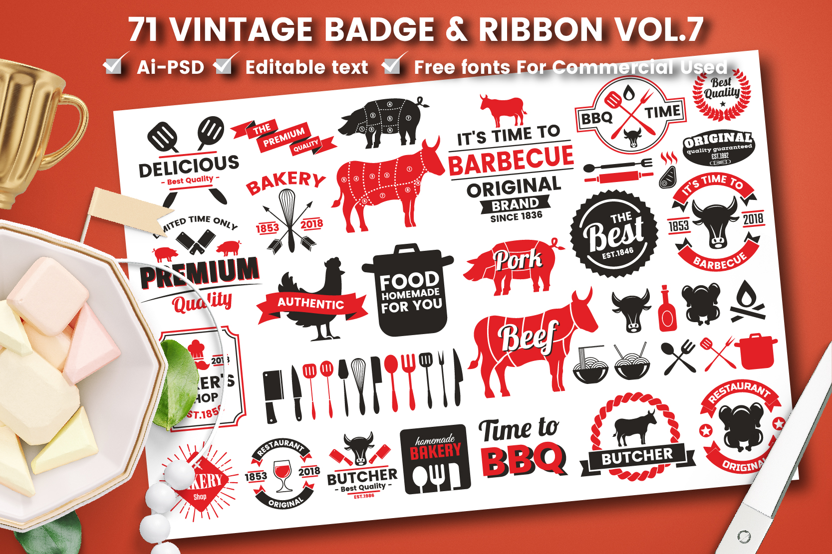Download Free 71 Vintage Badge Ribbon Vol 7 Grafico Por Toonsteb Creative for Cricut Explore, Silhouette and other cutting machines.