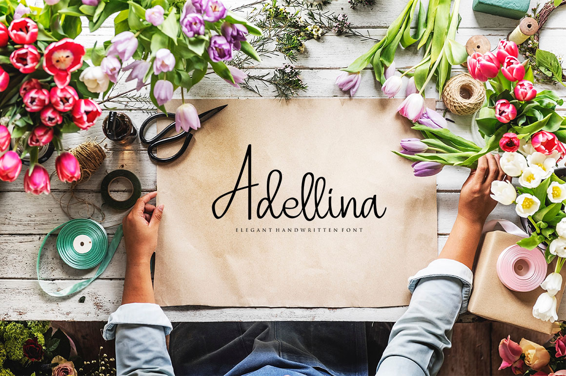 Print on Demand: Adellina Script & Handwritten Font By Haksen