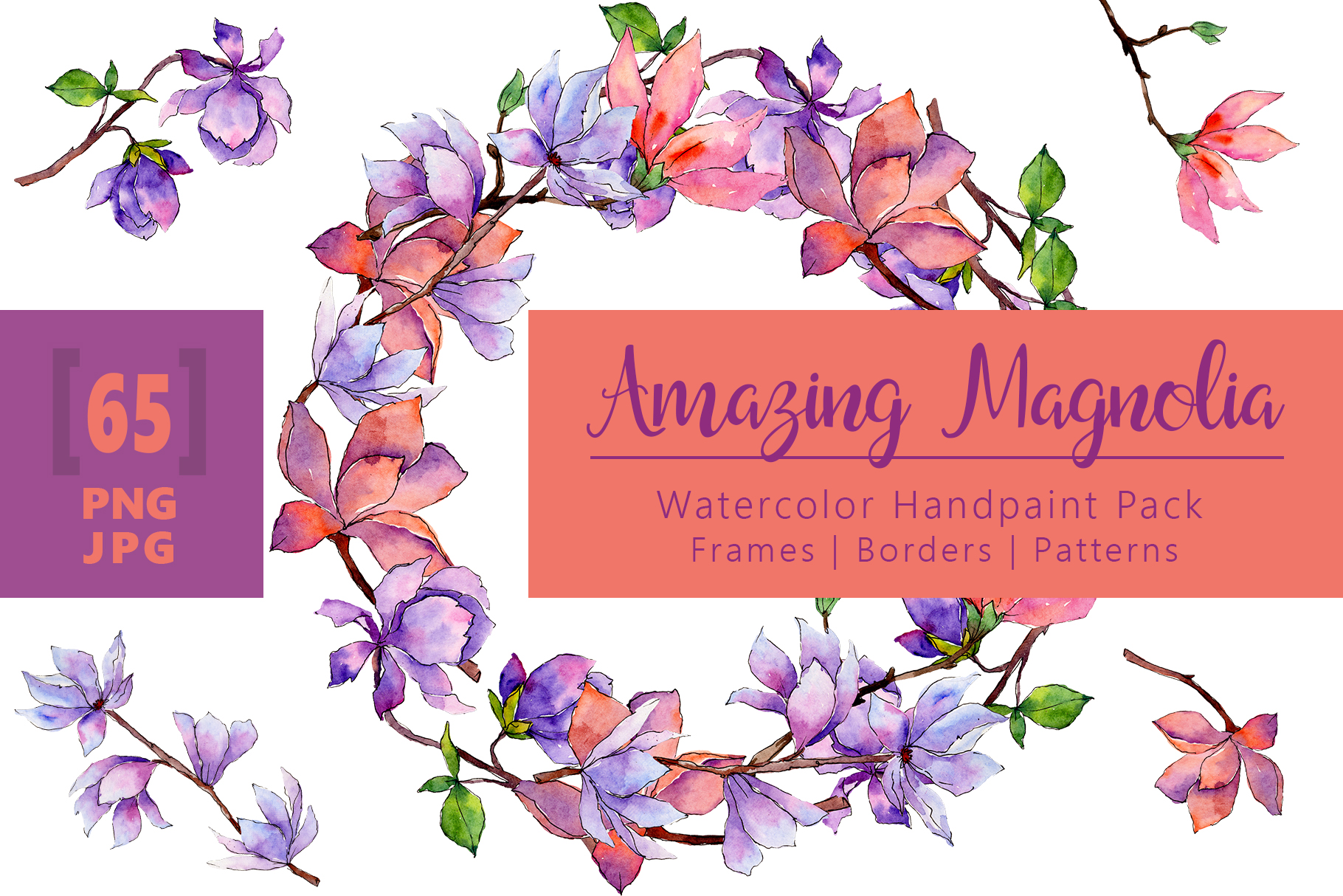 Download Free Amazing Magnolia Watercolor Flower Set Graphic By Mystocks for Cricut Explore, Silhouette and other cutting machines.