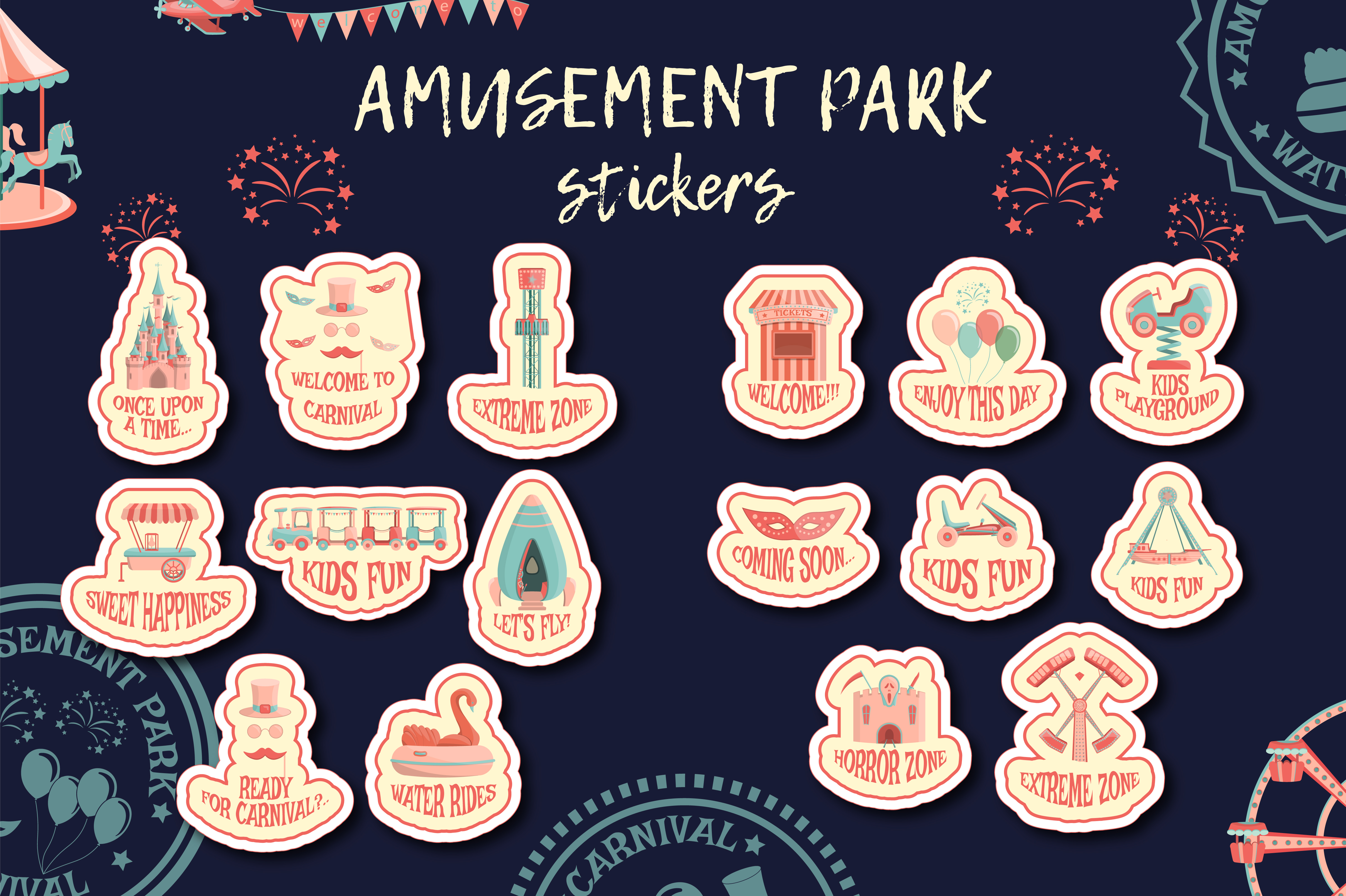 Download Free Amusement Park Stickers Collection Graphic By Butus Cm for Cricut Explore, Silhouette and other cutting machines.