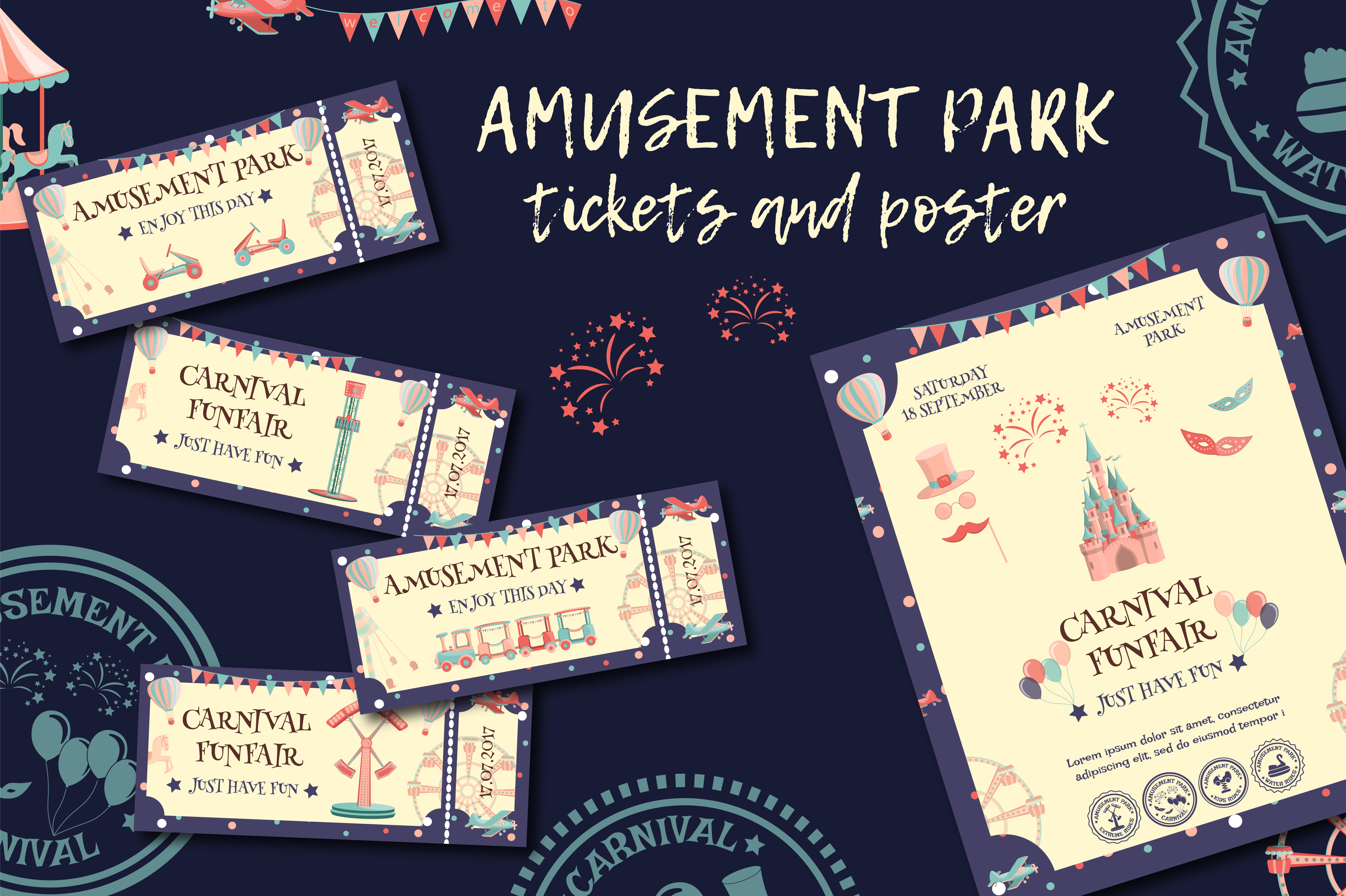 Amusement Park Tickets and Poster Template Graphic Graphic Templates By butus.cm