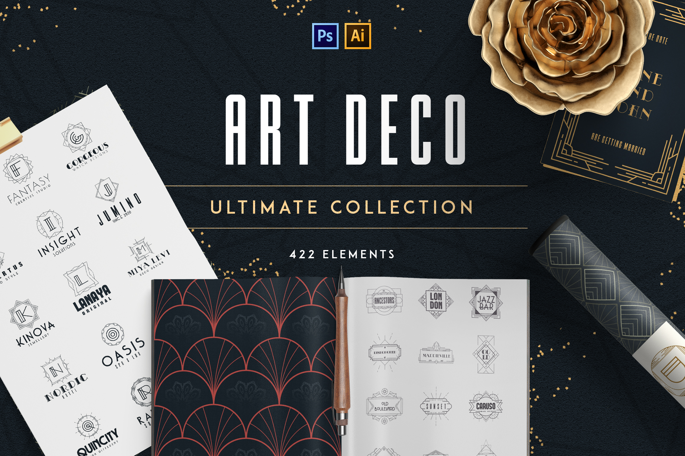 Print on Demand: Art Deco Ultimate Collection Graphic Logos By vladfedotovv - Image 1