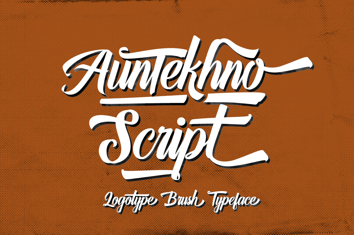 Print on Demand: Auntekhno Script Script & Handwritten Font By feydesign