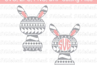 Download Free Aztec Easter Bunny Monogram Frame Graphic Graphic By Southern for Cricut Explore, Silhouette and other cutting machines.