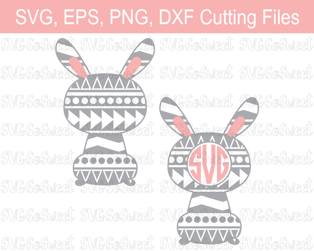 Aztec Easter Bunny Monogram Frame - Graphic Graphic By Southern Belle Graphics