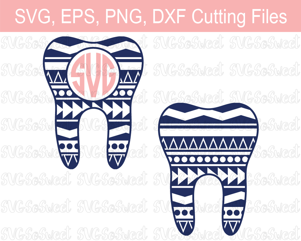 Aztec Tooth Monogram Bundle - Dentist Graphic