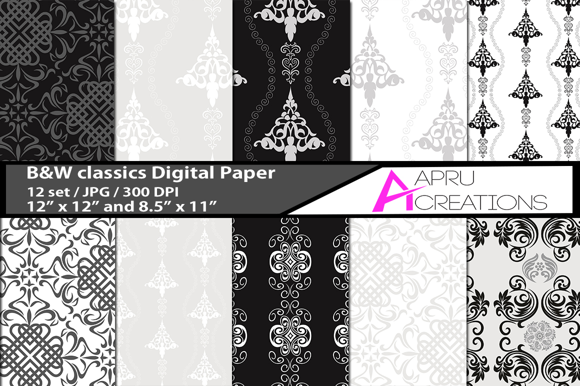 B&W Classic Digital Papers Graphic By aparnastjp