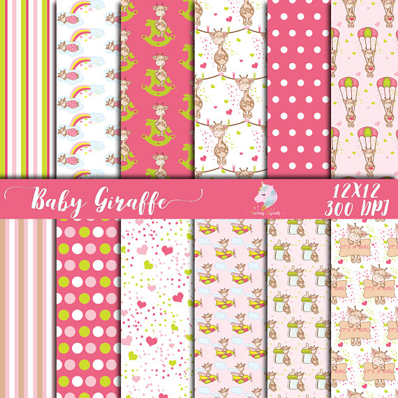 Print on Demand: Baby Giraffe for Girls Digital Paper Graphic Textures By fantasycliparts