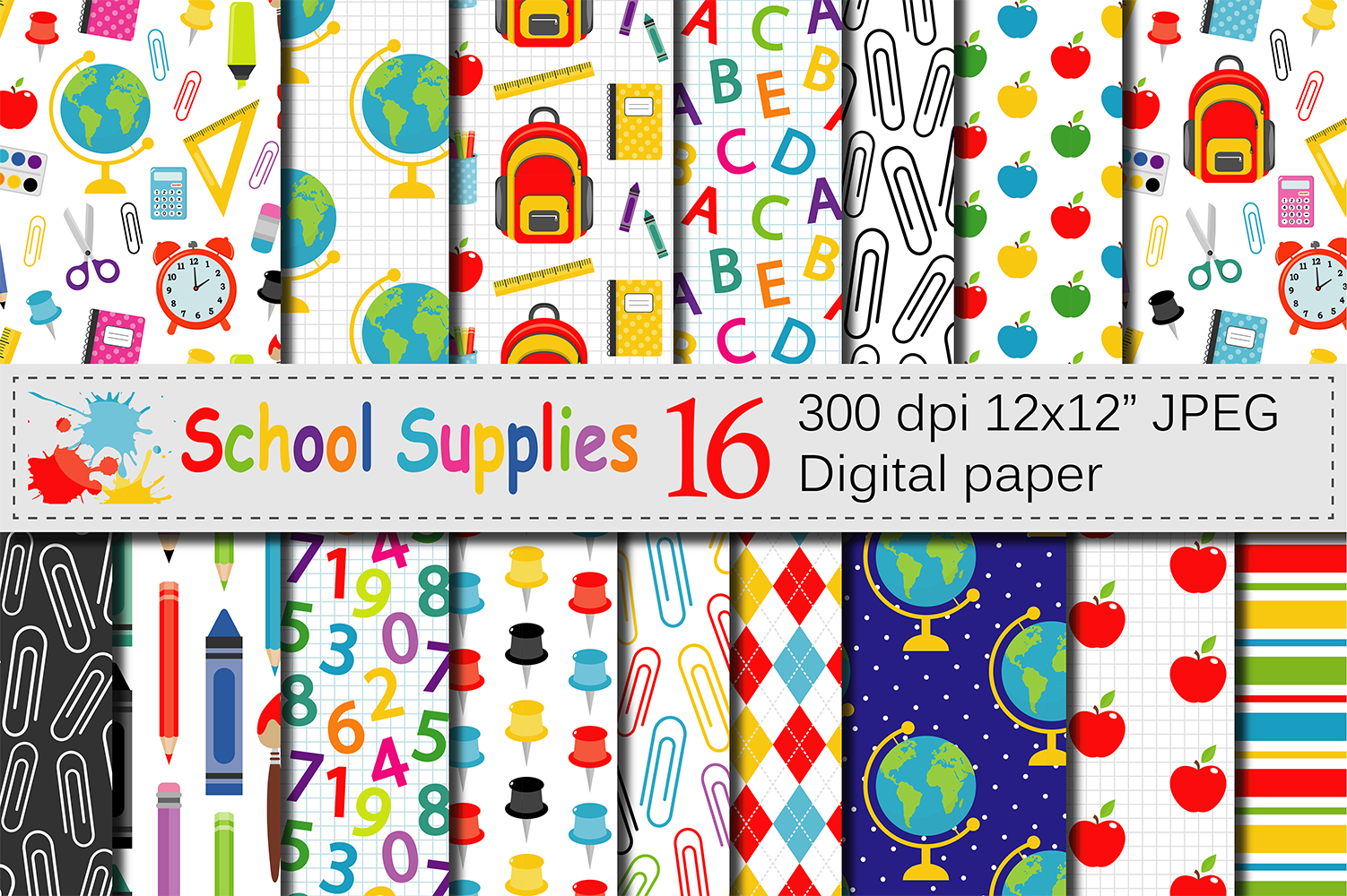 Back to School Digital Papers Graphic Patterns By VR Digital Design