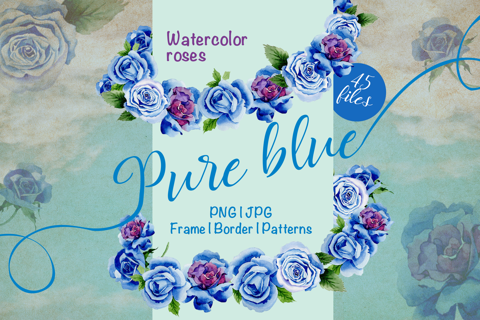 Print on Demand: Beautiful Blue Roses PNG Watercolor Flower Set Graphic Illustrations By MyStocks