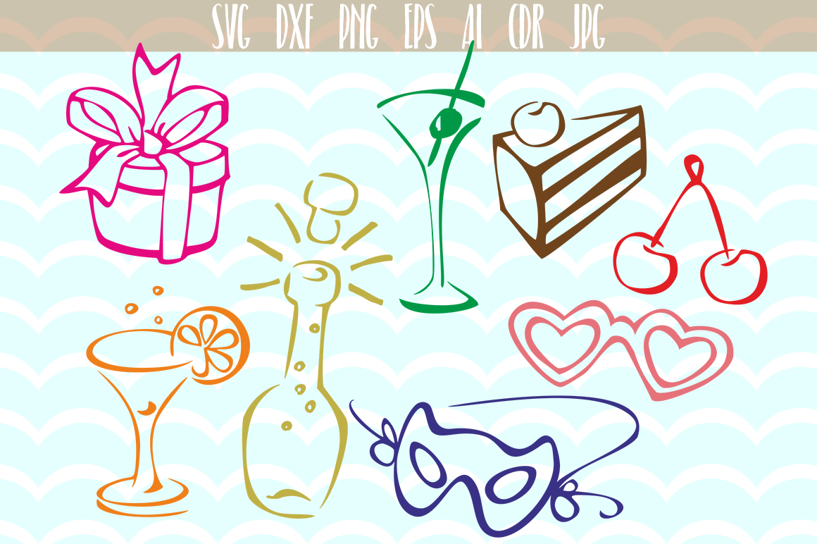 Download Free Birthday Party Vector Set Svg Graphic By Vector City Skyline SVG Cut Files