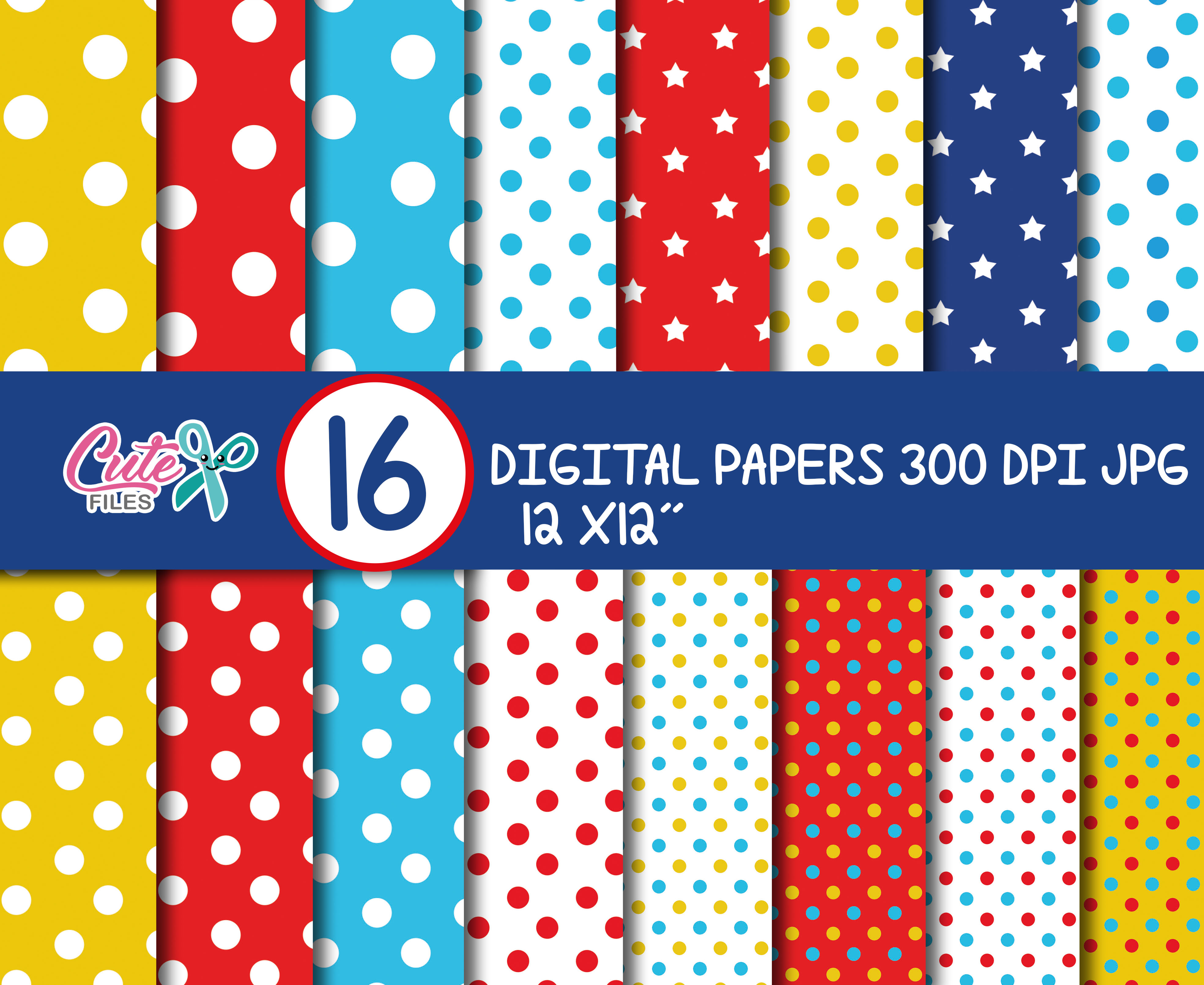 Birthday Polka Dot Digital Paper Set Graphic Crafts By Cute files