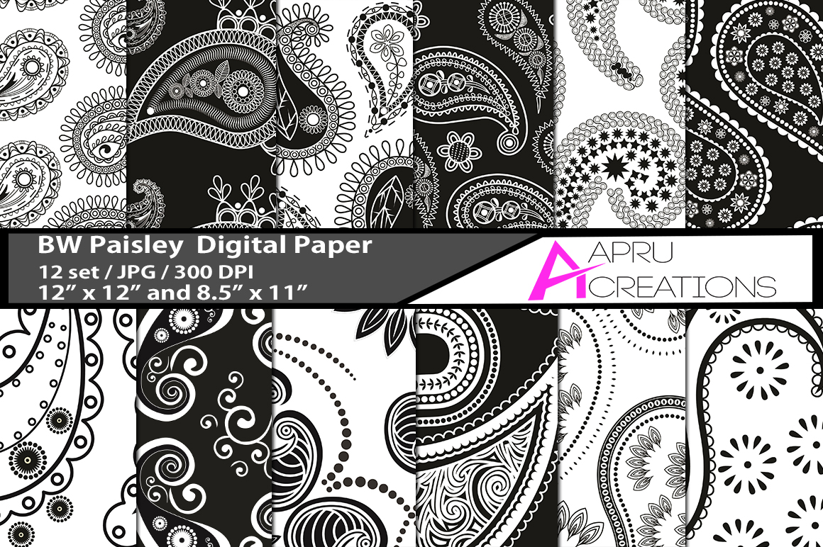 Print on Demand: Black and White Paisly Digital Papers Graphic Patterns By aparnastjp