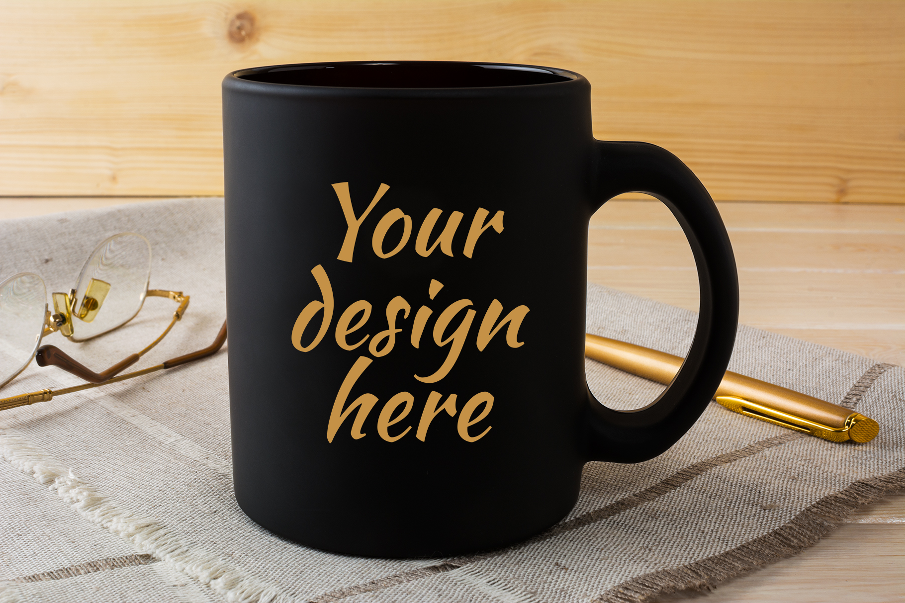 Black Coffee Mug Mockup with Glasses and Pen Graphic By TasiPas