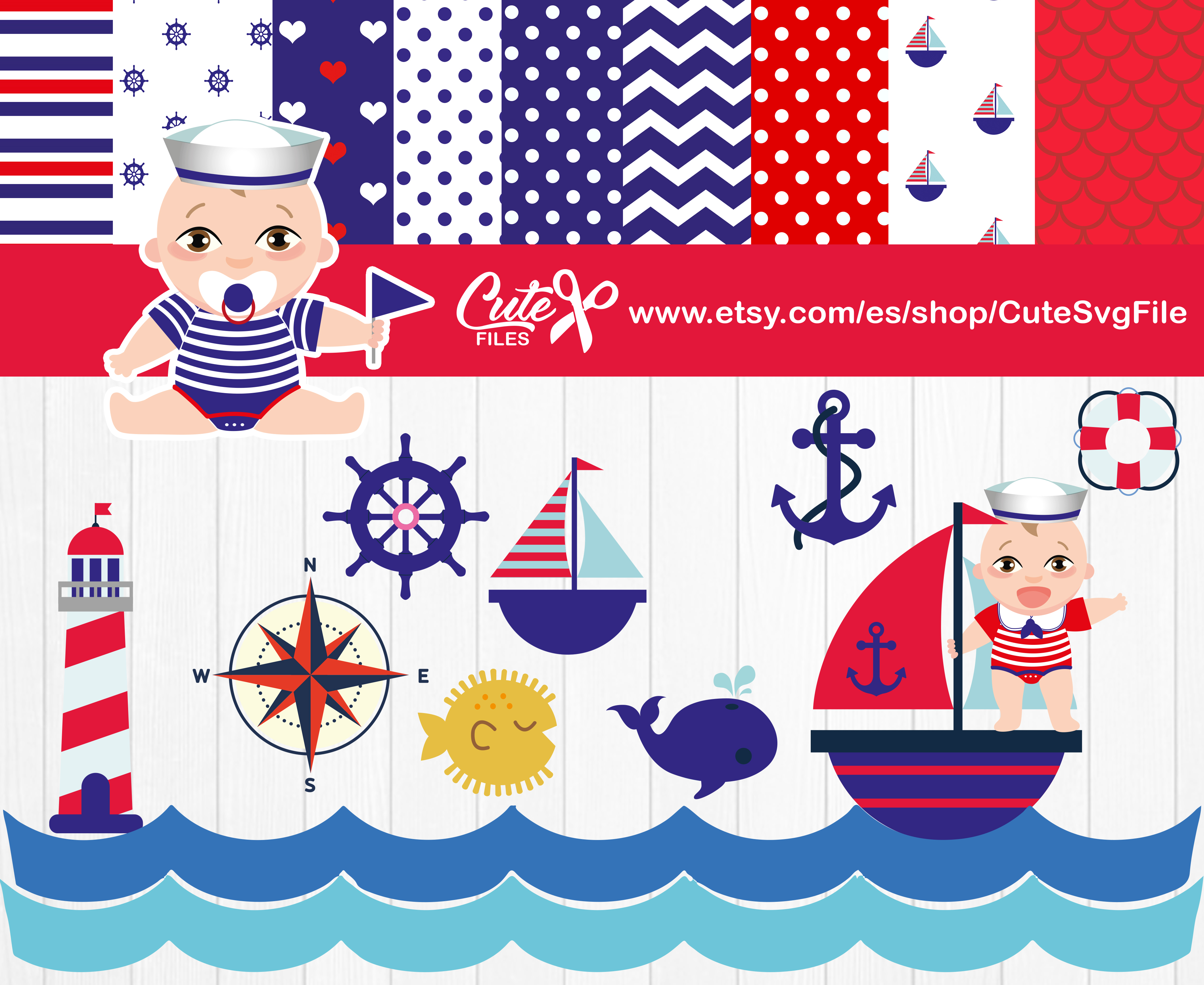 Download Free Boy Nautical Clipart Set Graphic By Cute Files Creative Fabrica for Cricut Explore, Silhouette and other cutting machines.