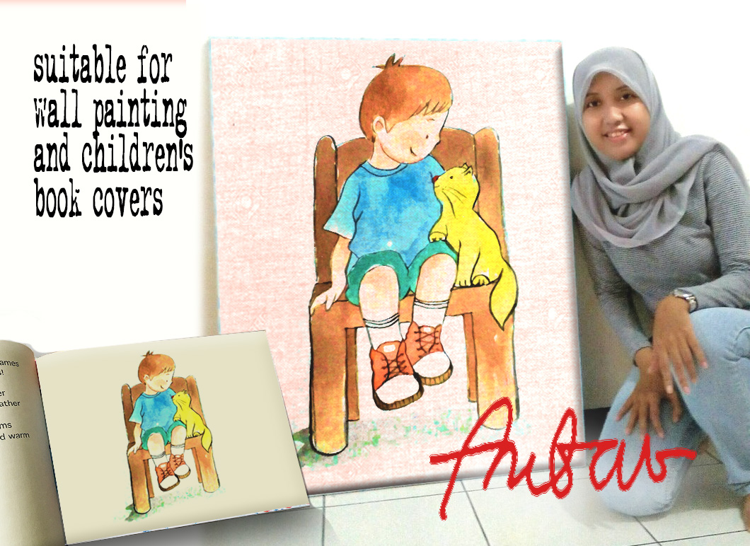 Boy and Cat Watercolor Cartoon Graphic Illustrations By Ambar Art - Image 2