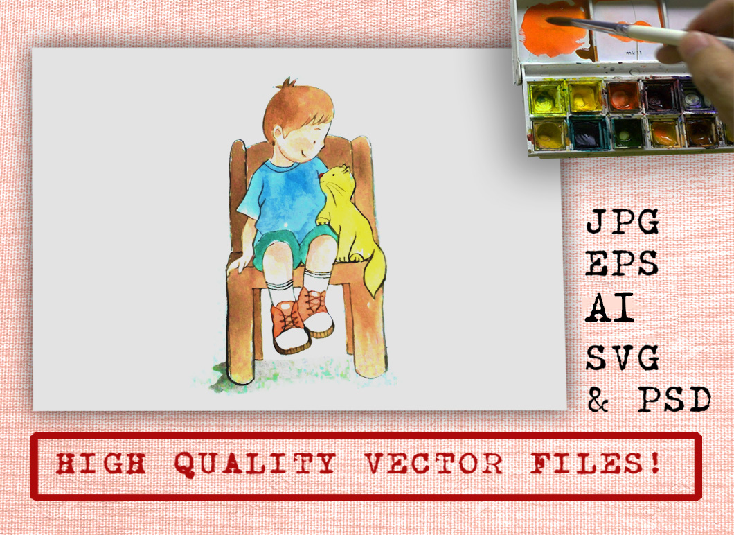 Boy and Cat Watercolor Cartoon Graphic Illustrations By Ambar Art - Image 1