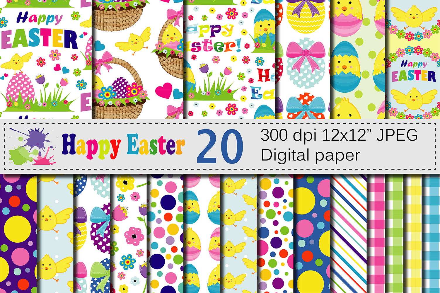 Bright Easter Digital Papers Graphic Backgrounds By VR Digital Design
