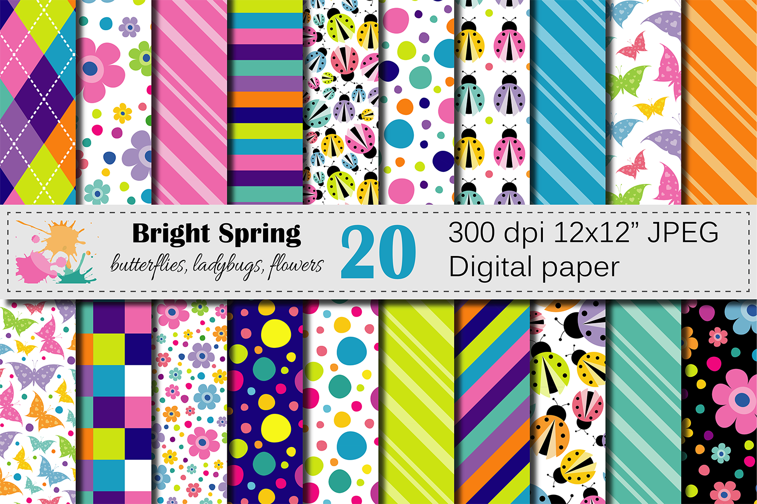 Bright Spring Digital Paper with Butterflies, Ladybugs and Flowers Graphic Backgrounds By VR Digital Design