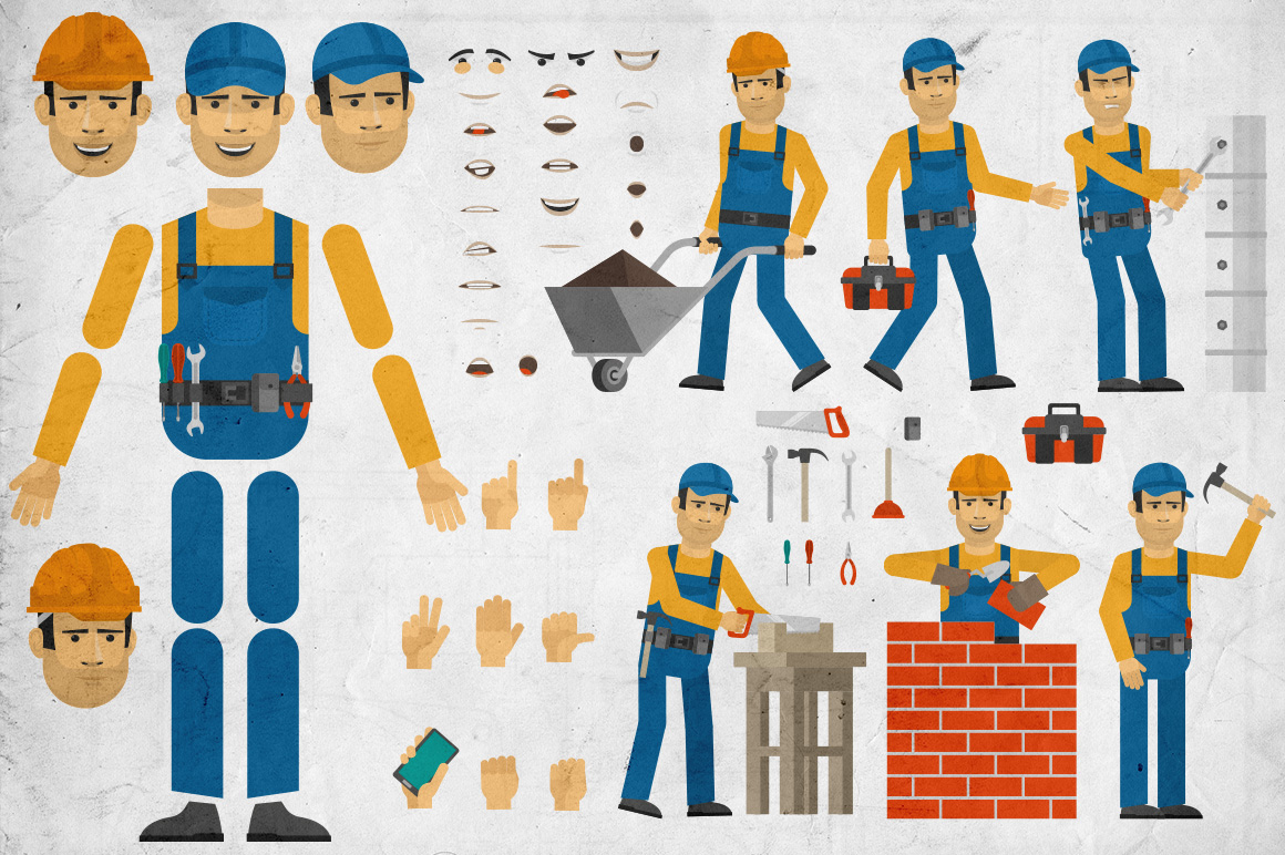 Construction Worker Creation Set Graphic By Agor2012